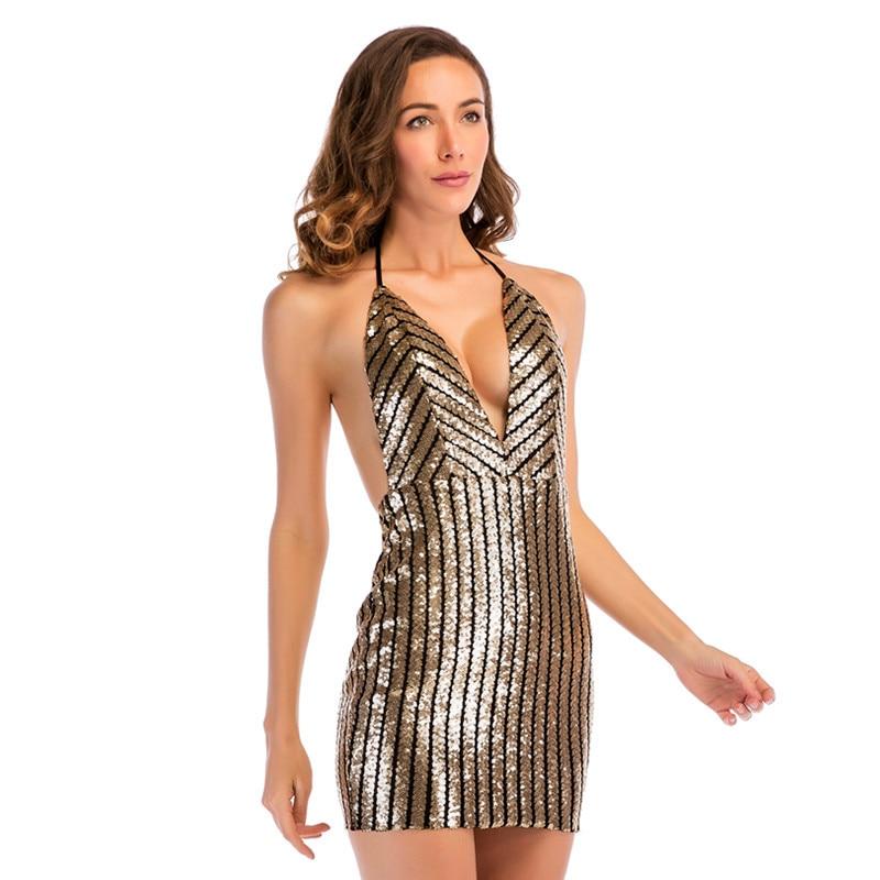 Luoanyfash 2018 New V Neck Halter Sequin Mini Dress