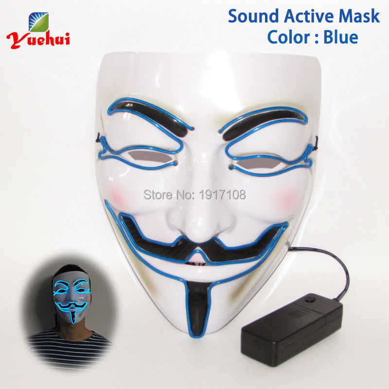 Wholesale 50 pcs EL wire Mask Flashing Halloween Mask 10 Color Select LED Gift By DC-3V Sound Activated glowing party mask