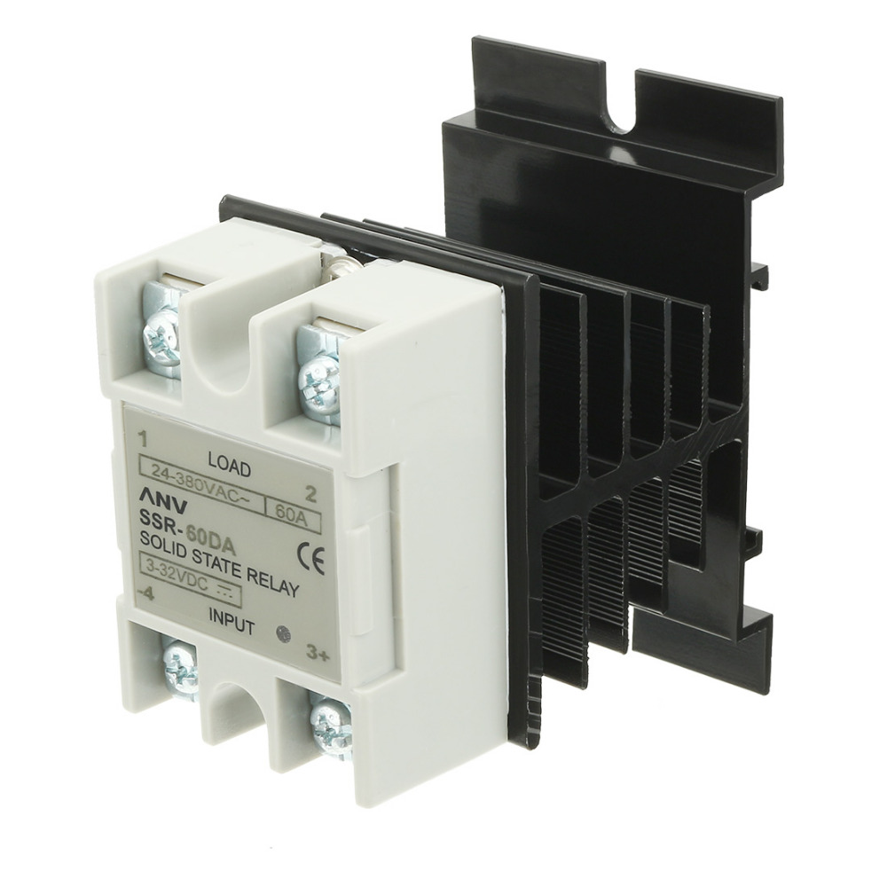 цена на New SSR-60 DA 60A DC 3.2-32V to AC 24V-380V SSR Solid State Relay + Heat Sink + Thermal Compound