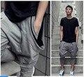 Verão finas haren sete calças bolso calça casual calças virilha pendurado masculinos esquilo