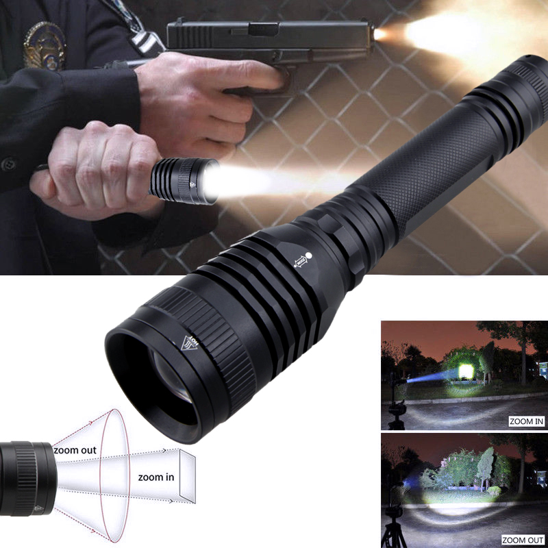 Tactical Bright ZOOM 50000LM T6 LED Lamp Flashlight Torch+18650+Charger+Case