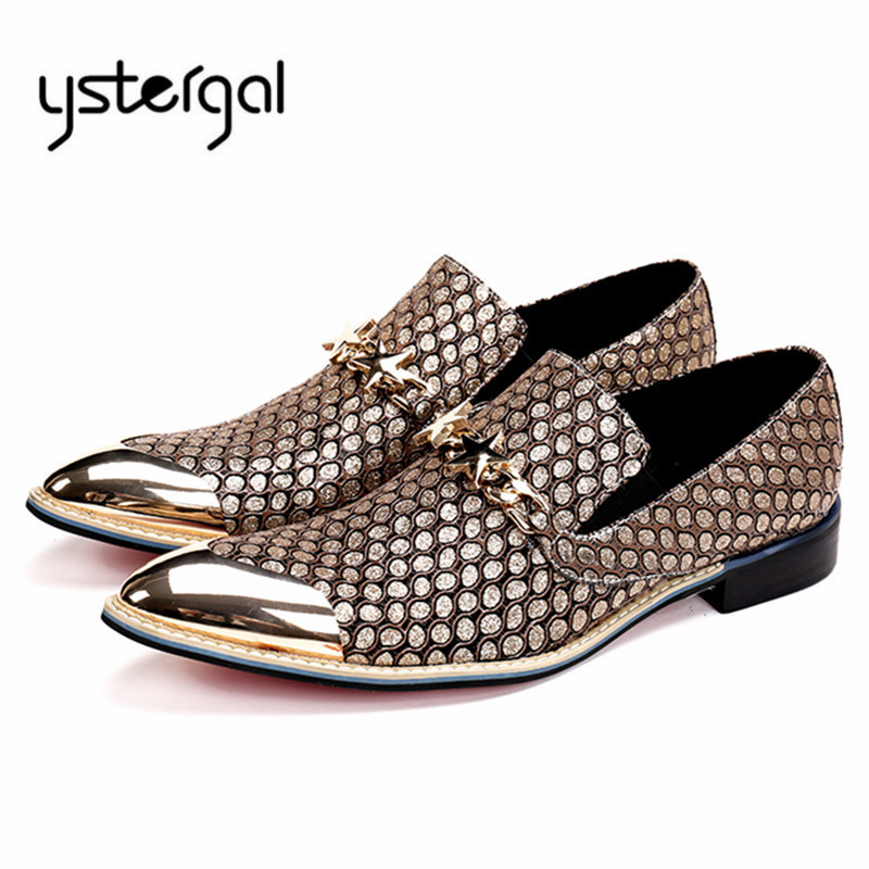 YSTERGAL Handmade Gold Men Oxford Shoes Metal Decor Male Wedding Dress Leather Shoes Man Slip On Business Formal Men's Flats