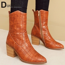 DORATASIA Brand New women Ankle Boots Pointed Toe Ladies High chunky Heels Shoes Woman Party Office female big Size 34-44