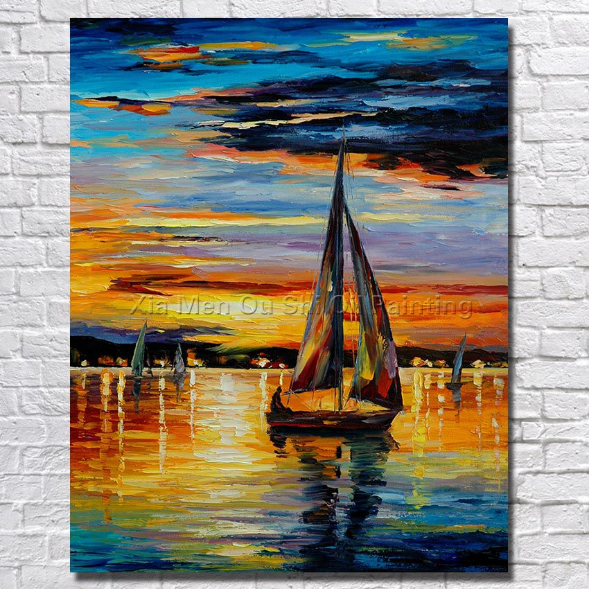 Free Shipping For Sell Wholesale Cheap Modern Wall <font><b>Knife</b></font> Palette Oil Painting <font><b>Boat</b></font> In The Sea Wall Art Hand Painted No Framed image