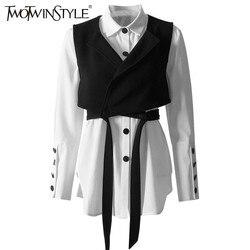 Conjuntos de dos piezas de moda TWOTWINSTYLE, camisetas blancas de manga larga con cordones, camisetas de mujer, conjunto de camisas de primavera 2019