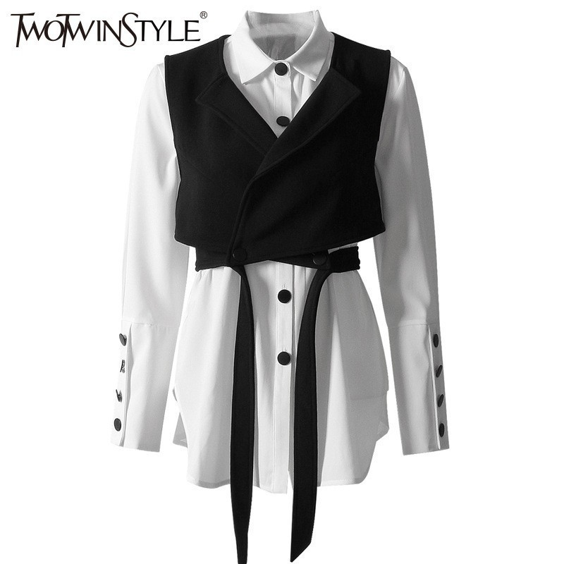 TWOTWINSTYLE Fashion Two Piece Sets Lantern Long Sleeve White Shirts Lace Up Short Vest Women's Shirts Set 2019 Spring Clothing