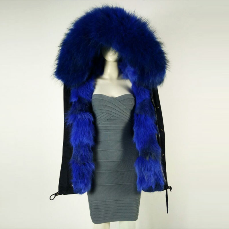 New Black Black Jacket winter unisex style Blue Fox Inside Fur Parka