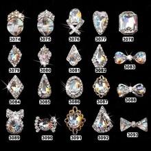10pcs/lot Metal Alloy Nail Art 3D Tips DIY Phone Jewelry Decoration Rhinestone Pearl Bow Tie Heart Charm Salon Manicure Tools