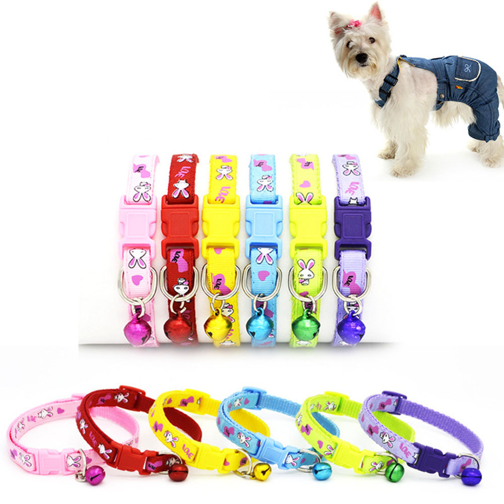 Easy Wear Cat Dog Collar With Bell Adjustable Buckle Dog Collar Cat Puppy Pet Supplies Cat Dog Accessories Small Dog