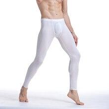 3dea8ffbcdd9f5 Solid Color Men's Ice Silk Long Johns Pants Stretch Underwear Thin Nightwear  Translucent Pajamas Bottoms Thermal