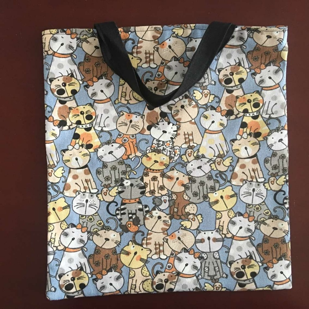 YILE 2-layer Cotton Canvas Eco Shopping Tote Handbag Print Cute Cat with Lining 526c Сумка
