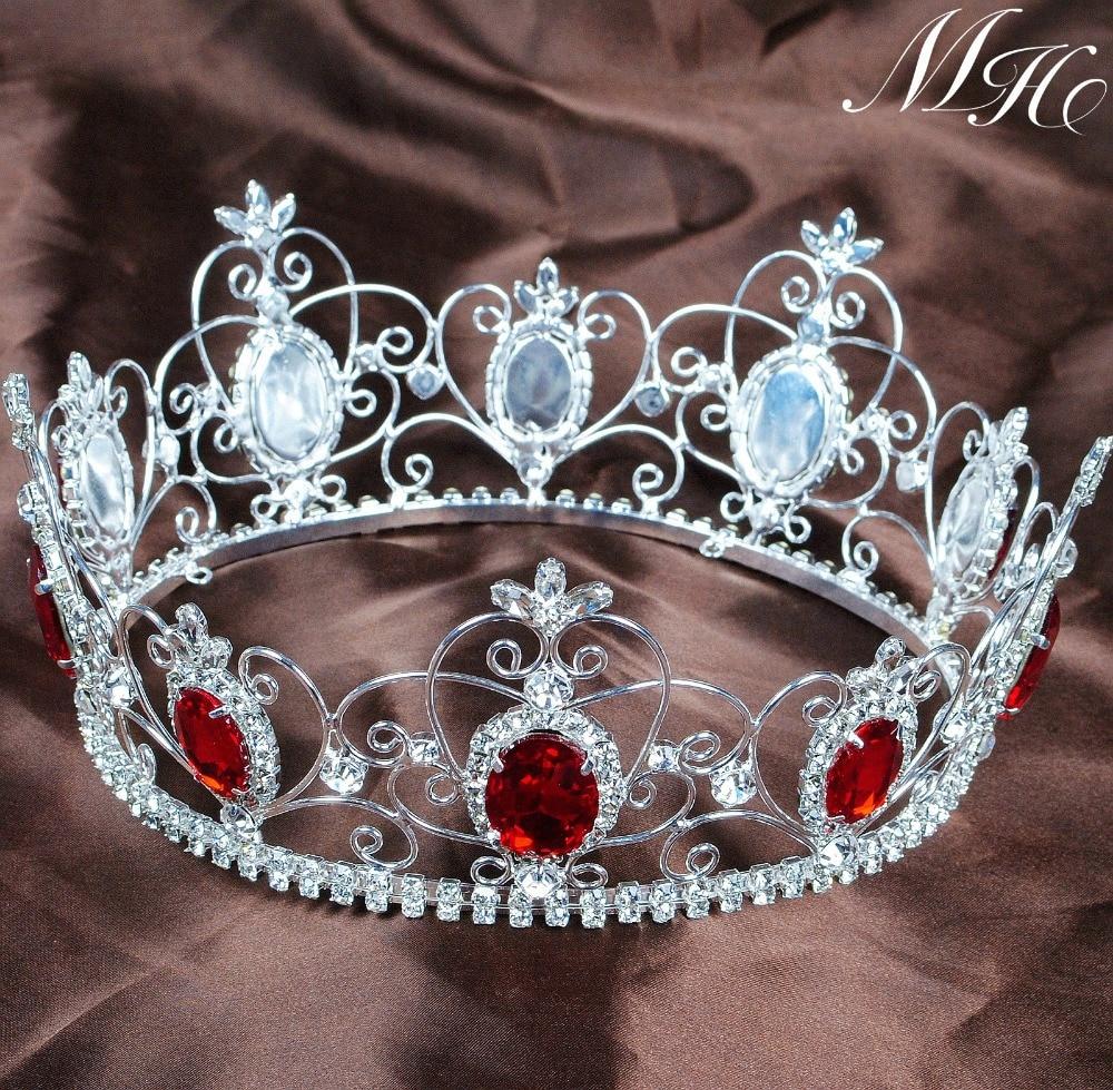 Crowns full circle round tiaras rhinestones crystal wedding bridal - Queen Princess 3 5 Tiara Crown Red Crystal Full Circle Round Headband Clear Rhinestones Wedding Bridal