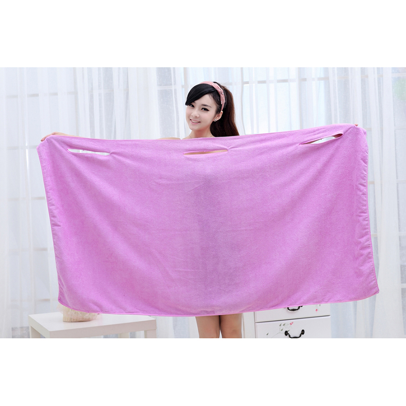 Wearable Super Absorbent Microfiber Bath Spa Towel Beach Body Wrap Washcloth LBShipping