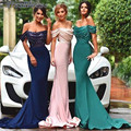 2017 Off the Shoulder Satin Mermaid Bridesmaid Dresses Sequins Top Bridesmaid Gowns