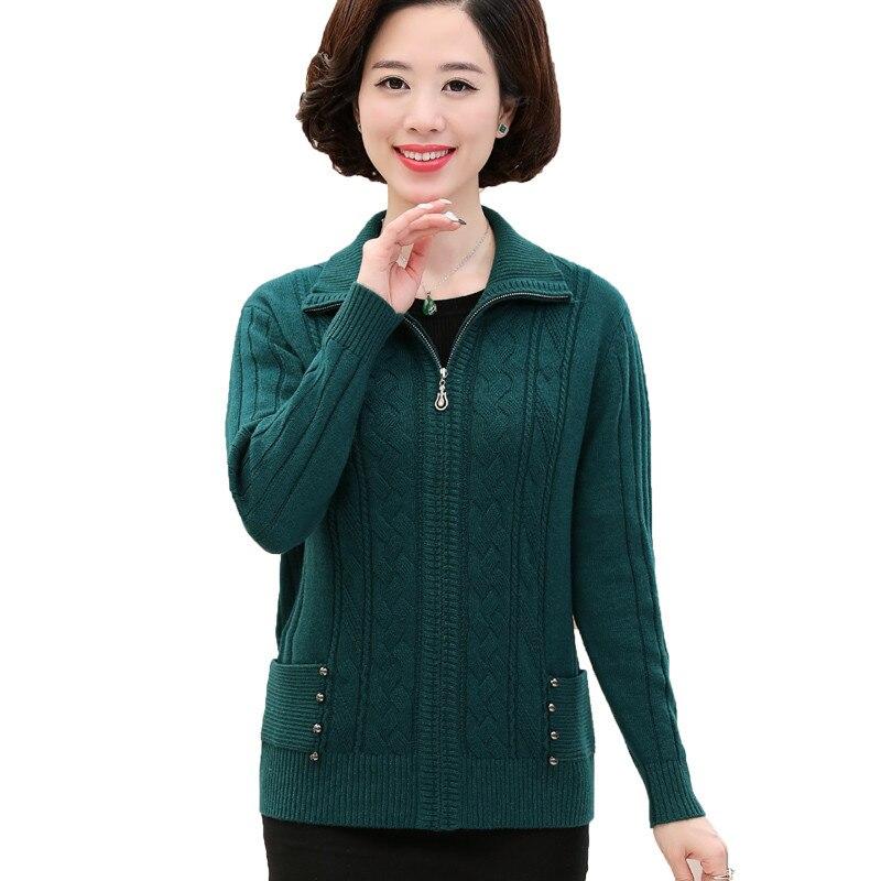 Cardigan chandail moyen âge femme automne hiver hauts en tricot veste femmes grande taille 4XL épaissir fermeture éclair lâche chandails manteaux H627