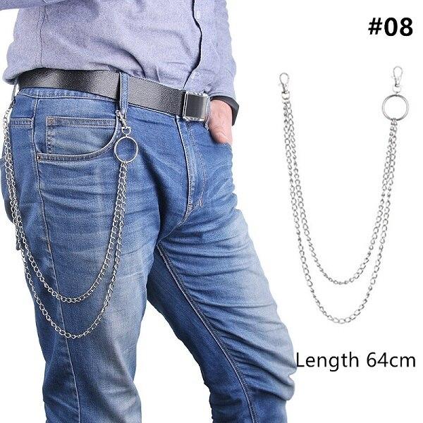 1 шт., длинные брюки, хипстерские брелки, панк-улица, большое кольцо, металлический кошелек, пояс, цепь, штаны, брелок, унисекс, хип-хоп ювелирные изделия, хороший подарок - Цвет: 64cm
