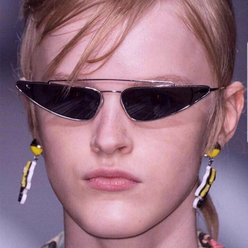 2018 Small Triangle Metal Frame Sunglasses Women Brand Designer Cool Cat Eye Sun Glasses Female Man Retro Eyewear Shades UV400