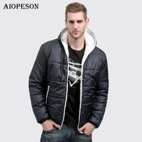 AIOPESON New Winter Jacket Men Fashion Solid Color Slim Fit Mens Coats Jacket Brand Clothing Warm