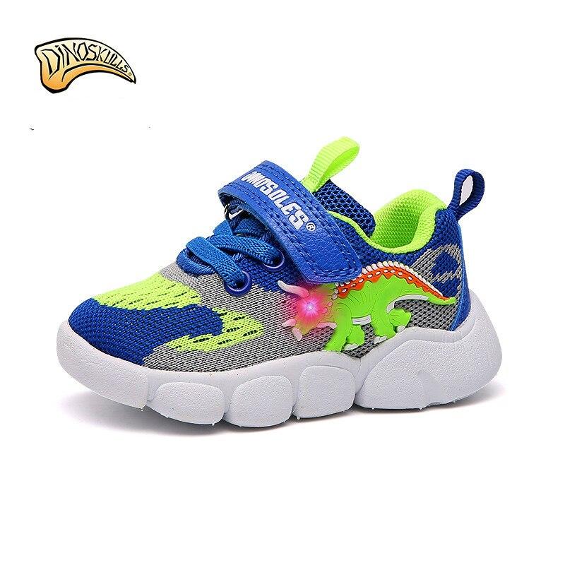 Dinoskulls/детская обувь; кроссовки для маленьких мальчиков; обувь со светодиодной подсветкой для малышей; дышащие спортивные кроссовки; 22 26