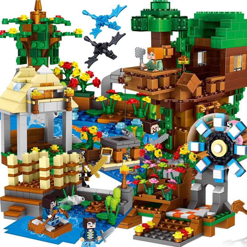 My World Minecraft Building Blocks Bricks Assembling Kids Toys Legoings Cave Tree House Educational Children Christmas Gift Toys lepin my world 406pcs classic tree house legoingly minecraft model figures building blocks bricks kids toys for children gift