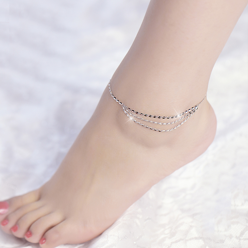 925 Sterling Silver with Platinum Plated Multilayer Anklets Women Fashion Brand Jewelry Accessories SA051