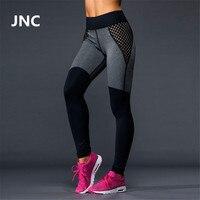 JNC 2016 New Women Mesh Patchwork Yoga Pants Black Grey Elastic Work Out Fitness Sport Leggings