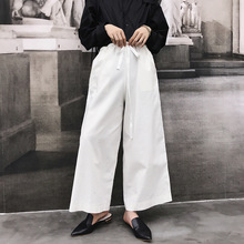 2019 New Autumn England style ribbon wide leg pants men casual loose harem suit pants for men harem trousers stage pants M-2XL cheap SexeMara Preppy Style COTTON Polyester High Full Length Midweight Flat Broadcloth Drawstring Sashes