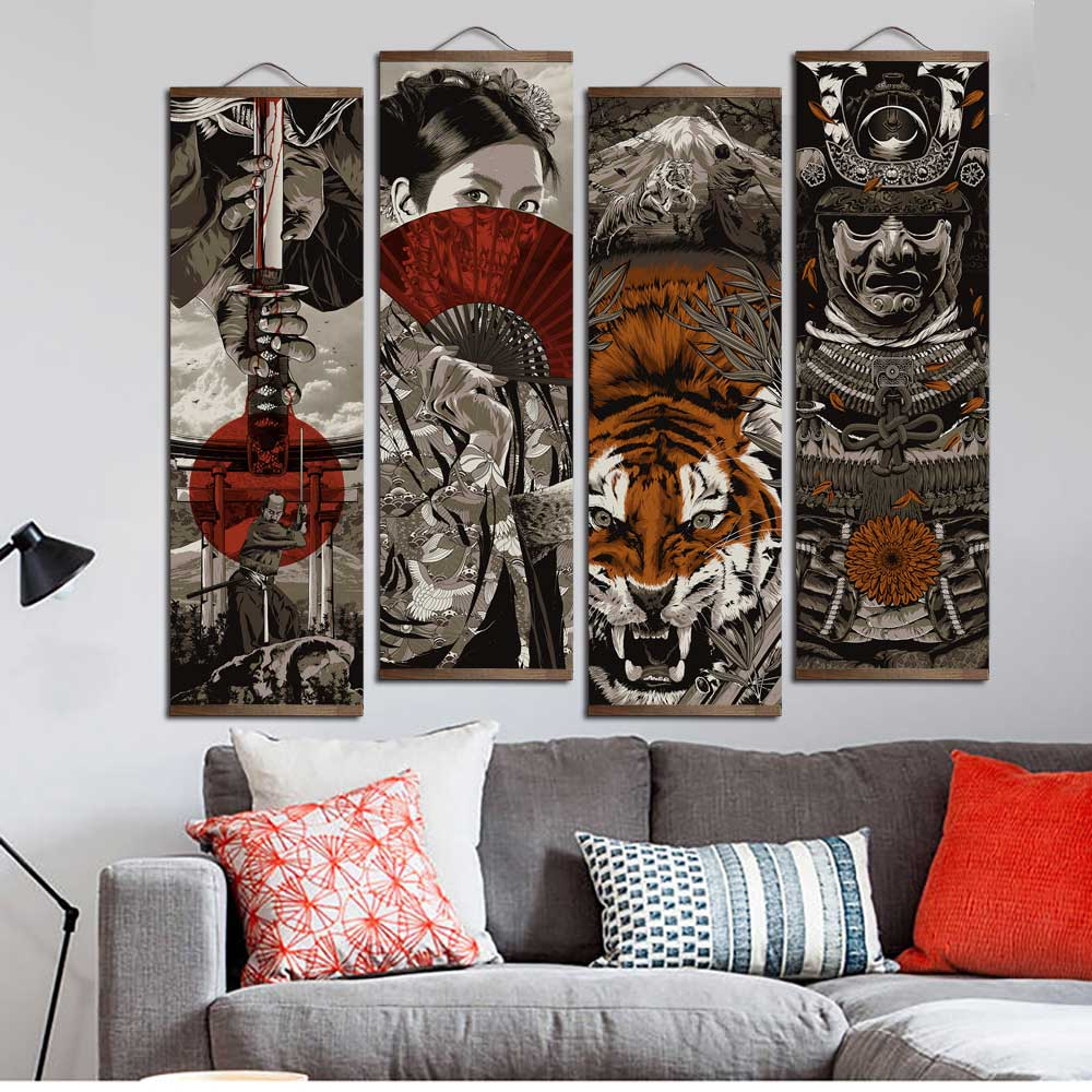 HTB1jfnIbWAoBKNjSZSyq6yHAVXaO Japanese Ukiyoe for HD canvas poster wall pictures for living room decoration painting wall art with solid wood hanging scroll