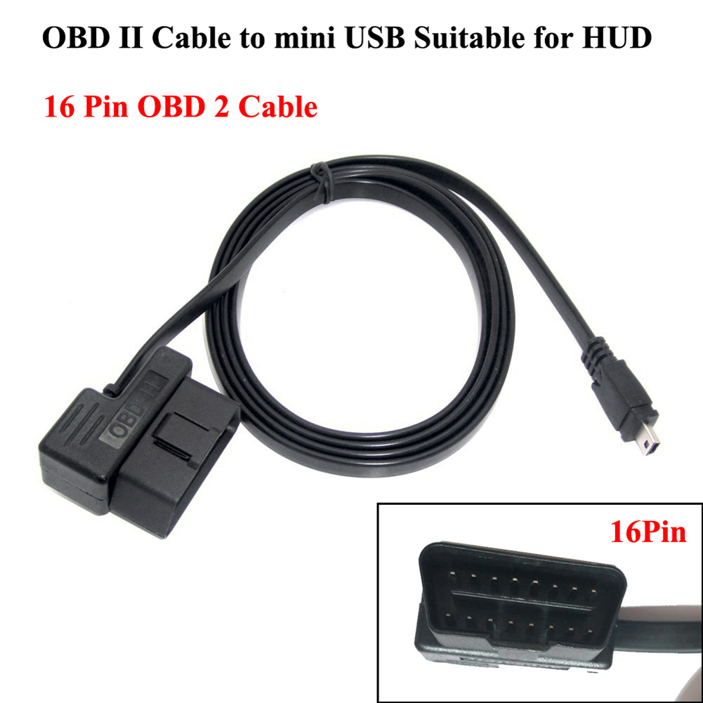 1.95m 16 Pin OBD II 2 Cable Diagnostic Adaptor OBD2 To Mini USB Cable For HUD5.5 HUD Headup Display W02 Cable