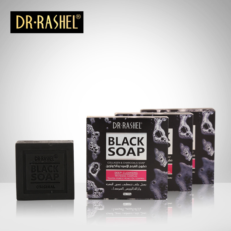 2 pcs Collagen Charcoal Black Soap Face Cleanser Blackhead Remover Whitening Tighten Pore Acne Oil Control DR RASHEL 100g in Cleansers from Beauty Health