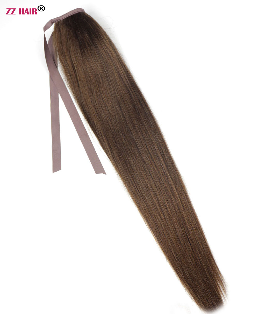Sego 20 Inches Pure And Piano Ponytail Clips-in Human Hair Extensions Horsetail Natural Straight Hair 100% Non-remy Human Hair Ponytails Hair Pieces