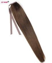 """Zzhair 100 г 20 """"50 см-Remy лента для волос хвост Зажимы в Пряди человеческих волос для наращивания 22 Цвета хвощ натуральный прямые волосы"""