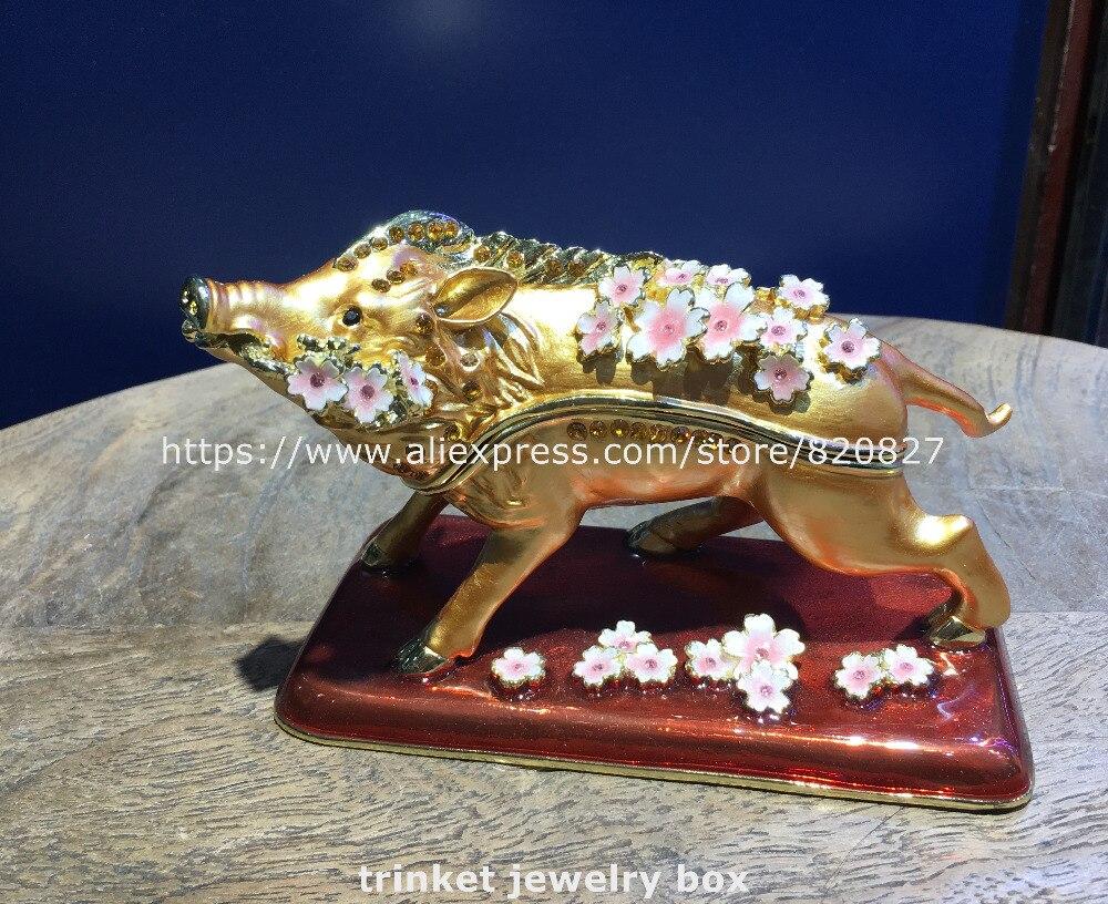 Porte-bonheur cochon avec fleurs bibelot boîte articulée cochon peint à la main Figurine à collectionner porte-anneau boîte-cadeau santé métal cochon affichage