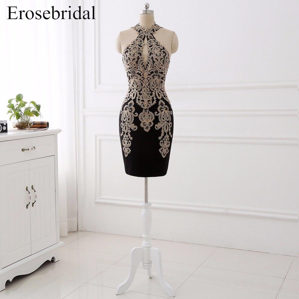 Unique Black Short   Prom     Dresses   Erosebridal 2017 Halter Vestido De Festa Zipper Back Formal Women   Dresses   Wear ZCP--65T