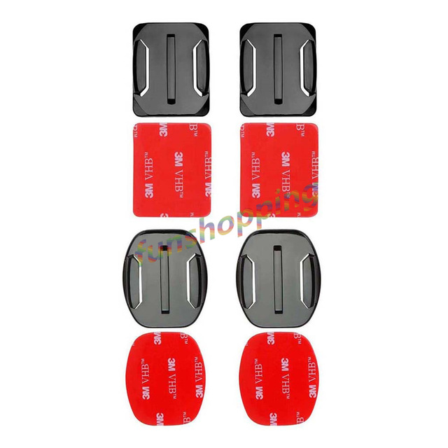 4 PCS Flat Curved Mount Set Sticker 3M Adhesive For Gopro Hero 7 6 5 4 3+ 2 Xiaomi Yi Action Camera For Go Pro Accessories