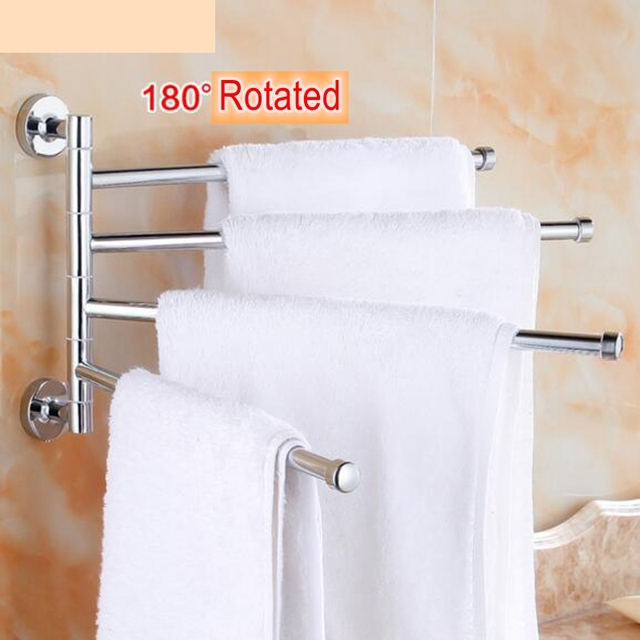 Stainless Steel Towel Bar With 4 Folding Swing Arm Bathroom
