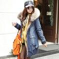 Grande Tamanho Casacos de Inverno Europeu Da Moda Jaqueta Nova Fêmea Real Raccon Gola De Pele Denim Casaco de Algodão-Acolchoado Grosso Jean brasão B1550
