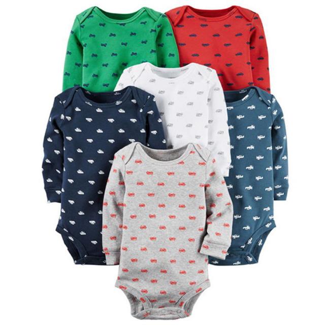 6 pçs/lote Primavera Outono Manga longa roupas de bebê definido, crianças bebes boy girl clothing set bodysuit recém-nascidos definir