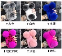 Fashion Girl S Rabbit Fur Plush Soft Diamond Bling Rhinestone Phone Case Cover For Samsung Galaxy