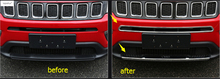 ABS ! Accessories For Jeep Compass 2017 Front Bottom Bumper Lid Plate + Front Grille Grill Molding Cover Kit Trim 2 Pcs / Set