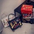 Luxury Handbags Female Bags 2016 Designer Handmade Embroidery Flower Small Box Handbag Lock Shoulder Cross-Body Bag Bolsos Mujer