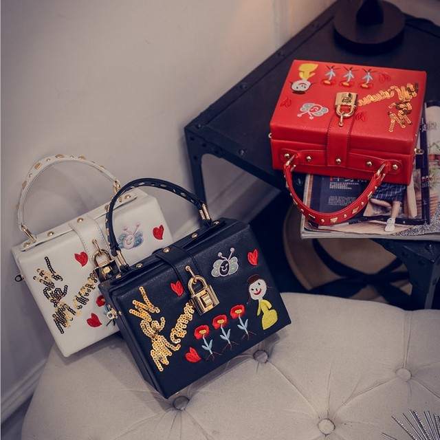 Luxury Handbags Female Bags 2016 Designer Handmade Embroidery Flower Small Box Handbag Lock Shoulder Cross-Body Bag Bolsos Mujer