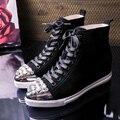 Envío Gratis cuero Genuino de la Manera de Las Mujeres de Altura creciente Zapatos Casuales Cordón Fuera de la puerta Zapatos con Diamantes de Imitación Tamaño 35-39
