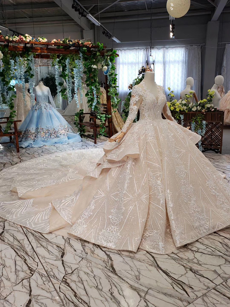 HTL433 long sleeves lace wedding dresses with train v-neck open back puffy ruffle wedding gowns heavy handwork robe de mariee (13)
