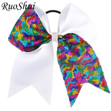 7 Inch Grils Large Cheer Bow Rhinestone Middle Grosgrain Ribbon Sequins Ponytail With Elastic Band Children Hair Accessories