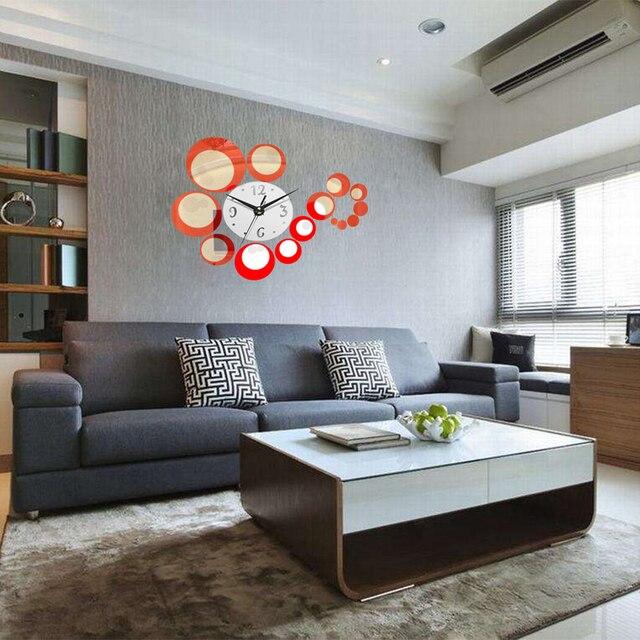 3d 1 set diy creative clock decoration circle acrylic mirror wall