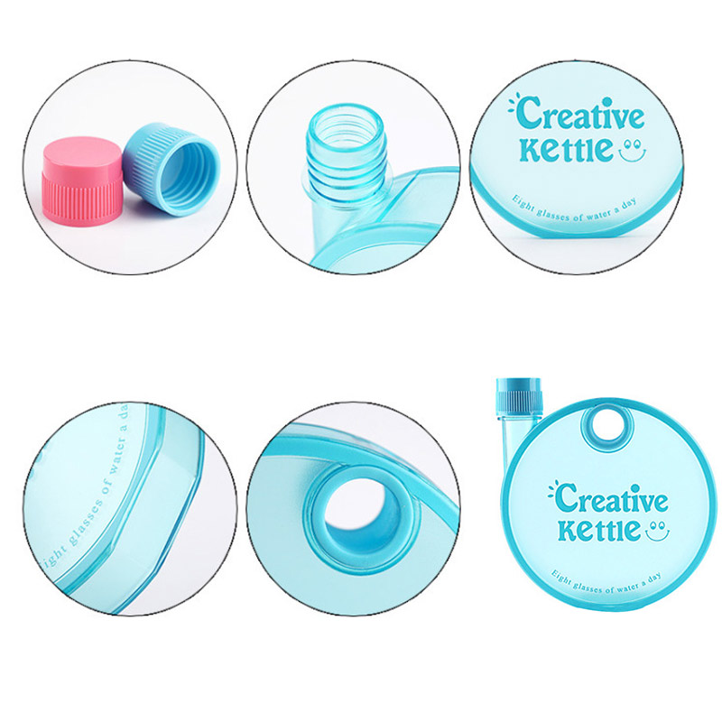 Portable Student Movement Sports Kettle 350ML Round Flat Plastic Water Bottle Gift Hot Sale