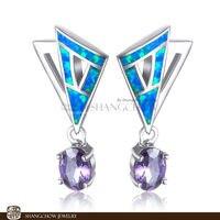 ¡ Nuevo! impresionante Joyería de Moda del Ópalo de fuego Azul con Púrpura de Cuarzo 925 Señora Pendientes EP0013