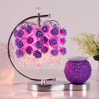 Bedroom bedside table lamp rose red wedding room warm aromatherapy table lamp plug creative European dimming lampZH