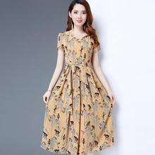 Yfashion Women Long Style Round Collar Short Simple Natural Summer Girl Skirt Sleeve Floral Printing Dress for Summer Wear retro style short sleeve round collar loose floral print dress for women